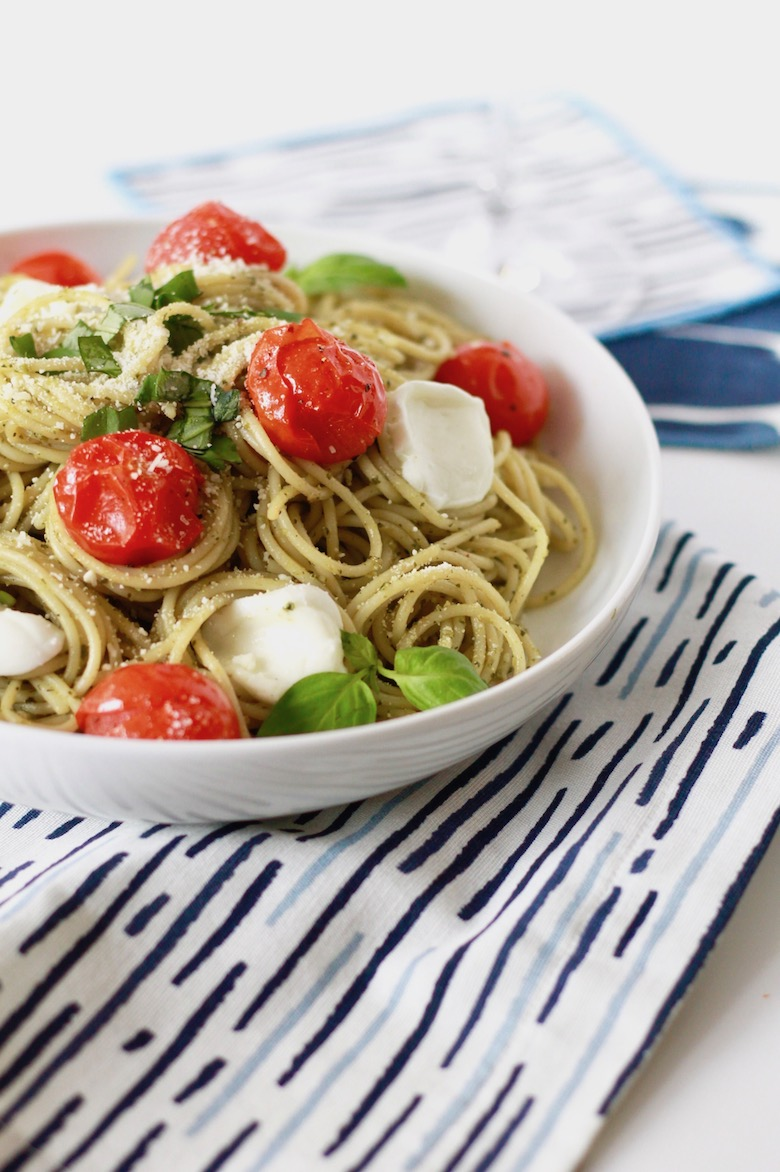Pesto Spaghetti with Blistered Tomatoes and Roasted Garlic | littlechefbigappetite.com 5