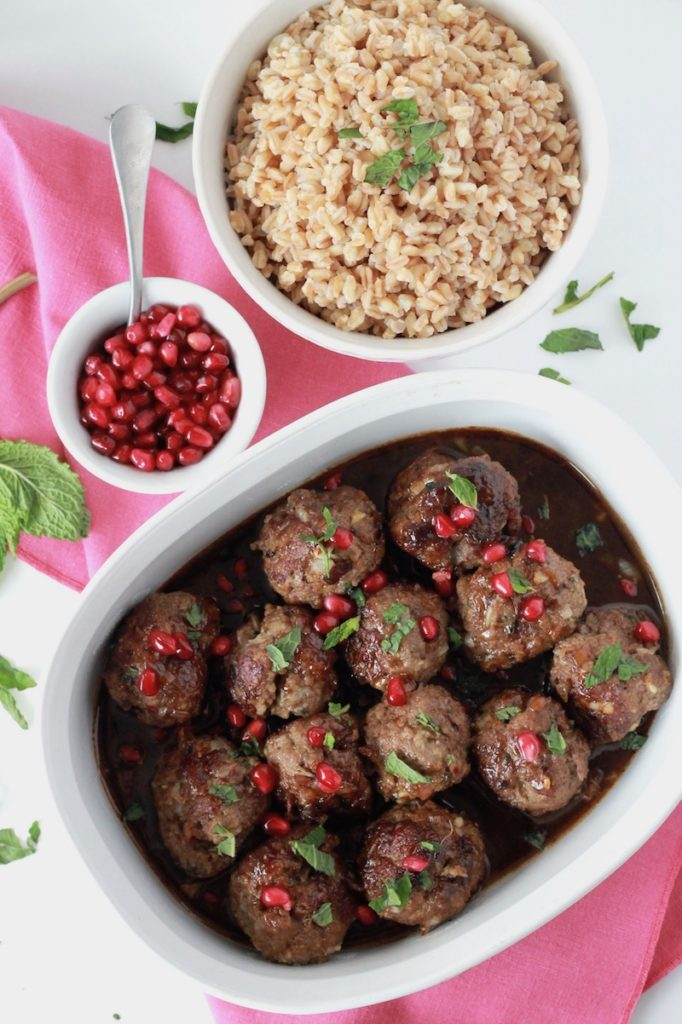 Beef Meatballs with Pomegranate Sauce and Farro   littlechefbigappetite.com